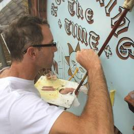 Signsmith Keving helping out on project the Bishop of Kensington's sundial on Dial House, Twickenham.