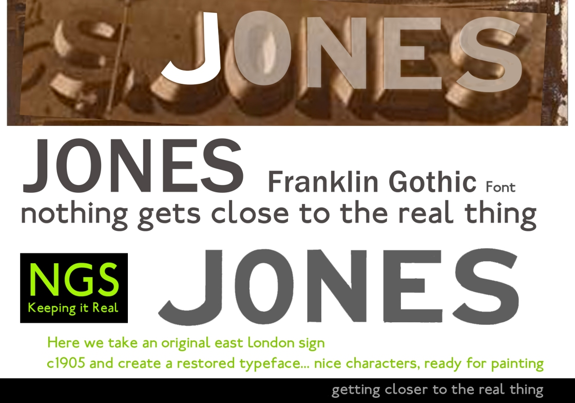 Jones Real lettering Typeface infographic